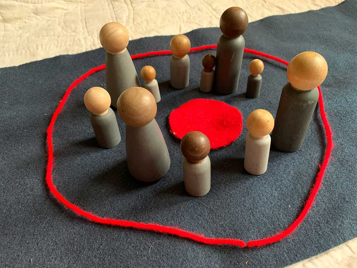 Figures inside a red ring